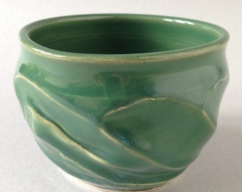 Forest green soup cereal ice cream bowl hand crafted in Michigan by David Austin