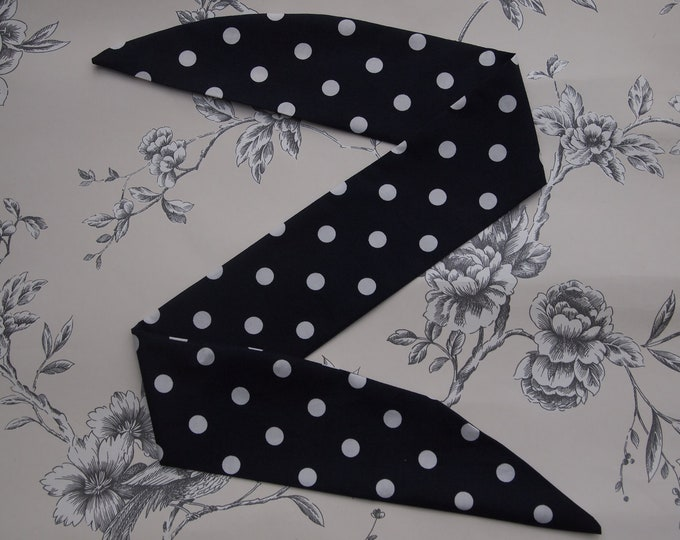50s Vtg Blue Polka Dot Head Scarf With Wire or Not - Rockabilly Psychobilly Cute