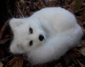 OOAK needle felted arctic fox