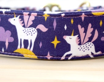 Unicorn Martingale Dog Collar in Purple and Pink for Girl Dog. Can be made in Buckle and Martingale Collar. PLEASE READ Item Details