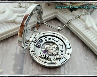 In memory/pregnancy loss jewelry/infant loss jewelry/hand stamped jewelry/child loss/glass locket /memory locket/angel wings