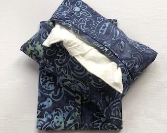 Purse Tissue Holders- Blue Batik Fabric- Pocket Tissue Holder- Tissue Case- Handmade Gift for her- Tissue Pouch- Travel Tissue Case
