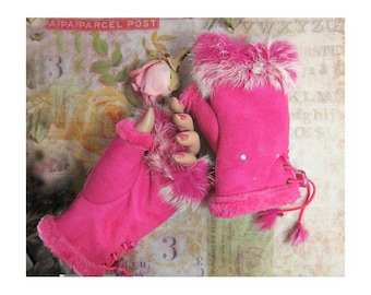 Gloves and mittens - winter gloves -finger less gloves - accessories for women -hand warmers - leather finger-less gloves  -