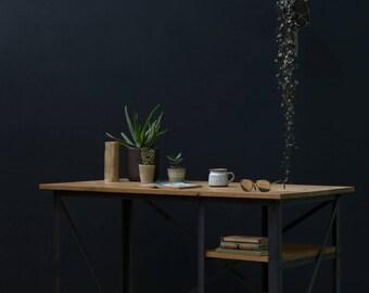KONK! 'Slim' INDUSTRIAL Desk [with shelves] - Oak/Steel [Bespoke sizes!] Rustic Reclaimed Vintage chic
