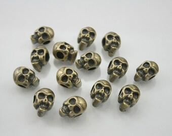 5 pcs.Zinc Antique Brass Skull Head Beads Charms Pendants Decorations Findings 9 mm. RCSK