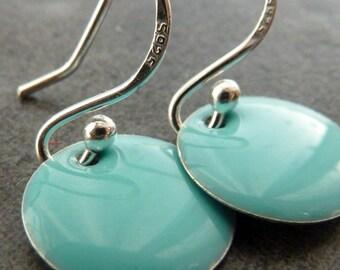 Turquoise Earrings/ Dangle Sterling Silver Earrings/ Dainty earrings/ Simple Drop Earrings/ Modern Everyday Earrings/ Summer Earrings