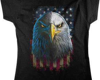 Eagle with Faded American Flag, Freedom, Sacrifice Women's T-shirt, NOFO_00290