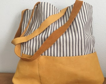 Unlined Leather Pocket Tote