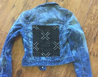 sale !!!upcycled mudcloth denim jacket