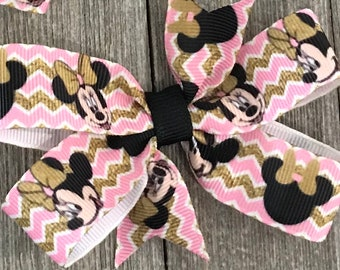 Minnie  Mouse Bow, Pink and Gold Minnie Mouse, Minnie Mouse pig tails