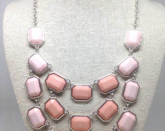 Stunning Estate Signed NY Pink Cab Silver Tone Necklace