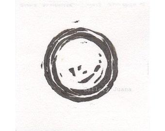 Enso II - November 2013, linocut print on Hosho rice paper, small art work