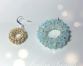 Tutorial Chenille donut pendant and earrings, Beading pattern