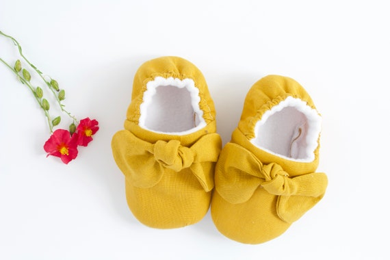 Mustard baby shoe with knotted bow, pre walker and toddler shoe