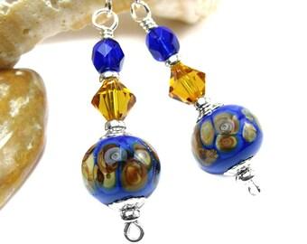 Cobalt Blue Earrings, Blue Copper Crystal Earrings, Frit Lampwork Dangles, Sterling Silver Earring, Boho Chic Jewelry One of a Kind Handmade