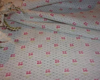 Vintage fabric, with little flower on linen