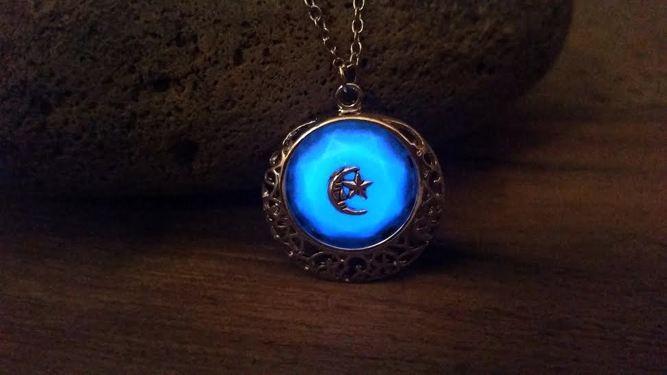 Glowing moon stars necklace glow in the dark crescent moon blue glowing moon stars necklace glow in the dark crescent moon blue glowing spiritual necklace green moon and stars pendant silver moon star aloadofball Images
