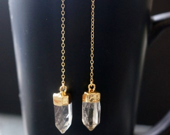 Quartz Earrings / Crystal Earrings / Gold Quartz Earring  / Quartz Crystal / Raw Quartz Earrings / Quartz Jewelry / Silver Quartz Earring