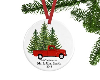 First Christmas as Mr. and Mrs. Ornament, Personalized Married Couple Ornament, Newlywed Gift or Unique Wedding Gift, Keepsake Ornament