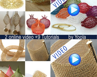 2 online video TUTORIALS plus 9 wire crochet tutorials in PDF ring, Sunflowers, Hoops, Tube,  Beads, Cuff ,Drops , Pom, Pears