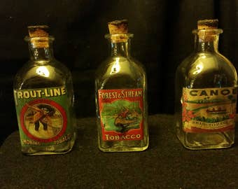 Vintage Style Forest & Stream, Trout-Line, Canoe Glass Bottle Set of 3 by Artist Nice