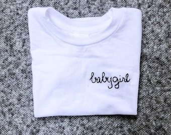 "Embroidered ""Babygirl"" T-shirt (women's adult)"
