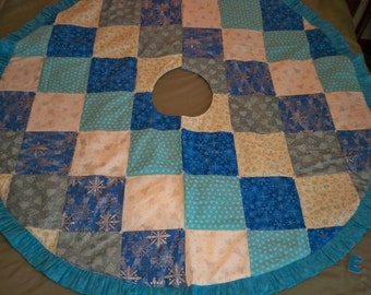 Turquoise Quilted Christmas Tree Skirt