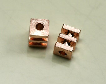 """Square spacer rose gold plated brass 10 pcs 5x7mm 3/16""""x9/32"""" (2mm 5/64"""" 12 gauge hole ) bab2 1221RG"""