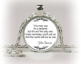 Silver Quote Necklace Pendants - Famous Beatles Lyrics/ Songs/Music/Words Gifts - Beatles Collectables