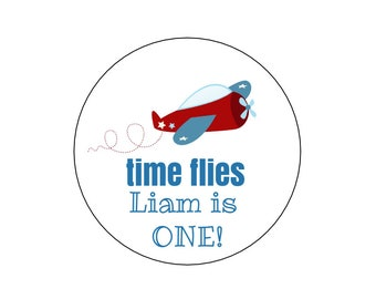 20 Airplane Time Flies Stickers, Airplane Birthday, Plane Stickers, Airplane Theme, First Birthday, Plane Labels, Time Flies Theme, Airplane