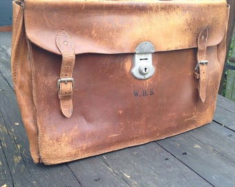 1950's briefcase leather cowhide 100% vintage school college case university work hipster retro worn antique satchel bag carrycase professor
