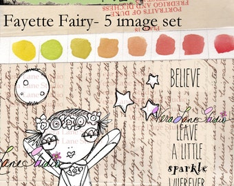Whimsical Fairy digi stamp set with quotes available for instant download