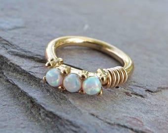 White Opal Gold Hoop Rook Hoop Daith Hoop Cartilage Hoop Tragus Hoop Septum