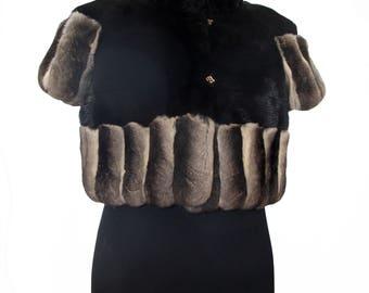 Black shawl in mink and chinchilla