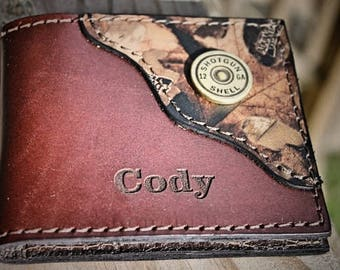 Personalized Leather Wallet, wallet for dad, Bifold Wallet,  Camo Wallet, Shotgun Shell, Name or Initials engraved free, gift for a hunter