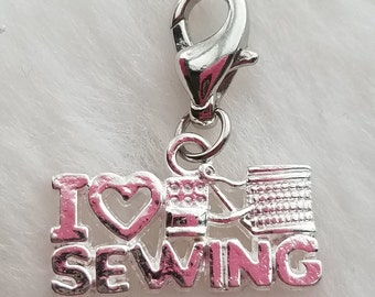 I Love Heart Sewing Charm - Clip-On - Ready to Wear