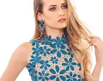 Elegant Luxury Blue Fancy Drop Earrings
