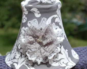 Custom Gray and White Damask Style Chandelier Lamp Shade