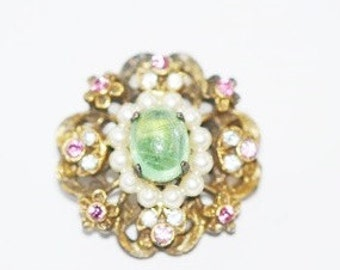 Vintage Signed Coro 1940s Era Pin Green Rhinestone with Faux Pearls