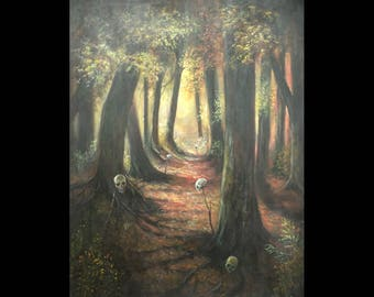 The Path to Baba Yaga, Original, Large Painting, Forest, Folk Tale, Witch, Skulls, Spooky, Macabre, Scary, Dark Art, Fairy Tale, Trees
