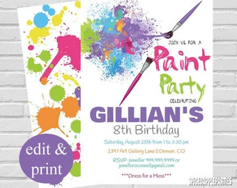 Paint Party Invitation   Art Party Invitation, Paint Party Birthday Invitation, Painting Party,Art Party Invite INSTANT DOWNLOAD