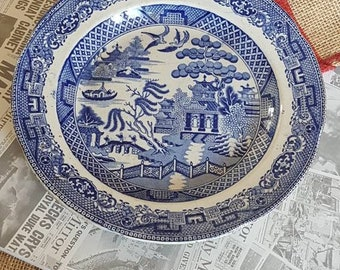 """Antique Blue and White """"Staffordshire"""" Willow Pattern  """"Opaque Granite""""- Rare- Made in England!"""