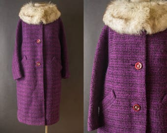 vintage 1960s coat / 60s fur collar purple wool coat / medium / Orchid Coat