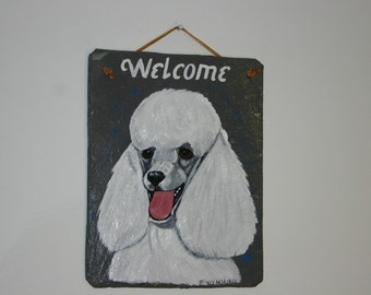 White Toy Poodle Welcome Slate