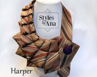 Necktie Necklace, Unique Finds, Statement Necklace, Collar, Women Fashion,Refashioned Clothing, Collar Necklace,Necktie Scarf,Fashion Trends