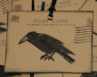 8 Primitive Black Crow Gift  Tags on Vintage Post Card Image