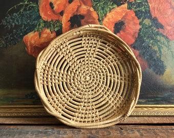 Vintage Basket Woven Tray Round Weave Rustic Boho Home Decor Storage