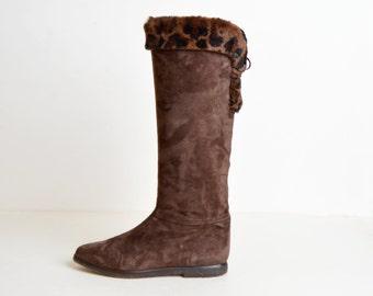 Vintage 80s 90s Brown Suede Leopard Fur Cuff Pirate Boots, 9 40