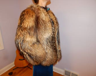 SALE 50% Russian Beaver Fur Jacket Vintage 1980s FREE US shipping
