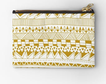 artist designed carry all pounches- cosmetic bags- coin purses-toiletries bag- geometric pattern design in trendy gold and white-gift idea